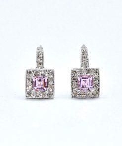 Diamond & Pink Sapphire Earrings