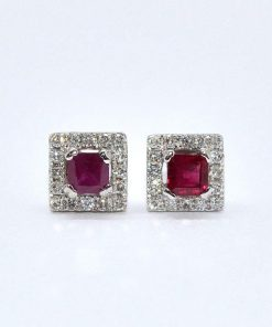 Diamond & Princess Cut Ruby Studs
