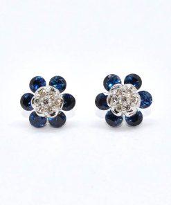 Diamond & Sapphire Cluster Studs