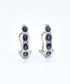 Oval Shaped Blue Sapphire & Diamond Earrings