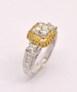 White & Yellow Diamond Engagement Ring
