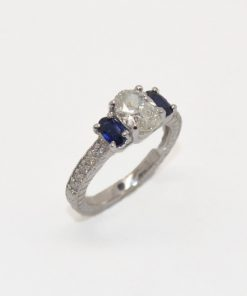 oval diamond & sapphire engagement ring