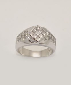 mens diamond ring white gold