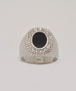 mens diamond & onyx ring