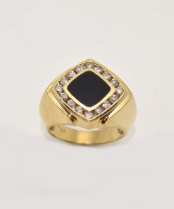 mens onyx and diamond ring