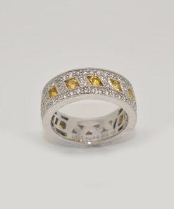 white & yellow diamond band