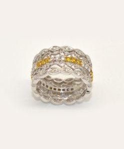 yellow & white diamond band