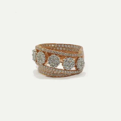 18k rose gold diamond fashion ring. Diamond weight 1.69 ct.