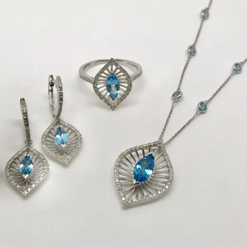 blue topaz & diamond set