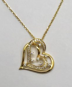 14k yellow gold double heart