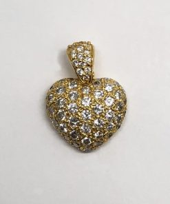 14k Yellow Gold Diamond Heart