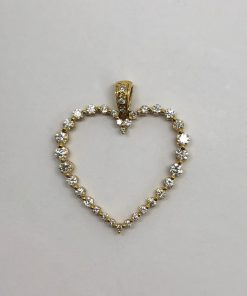 18k Yellow Gold Diamond Heart
