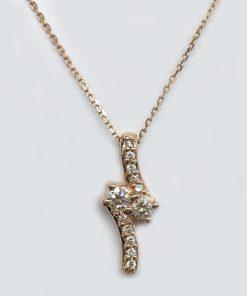 14k Rose Gold Diamond Pendant