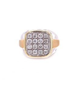 14k two tone gold mens diamond ring