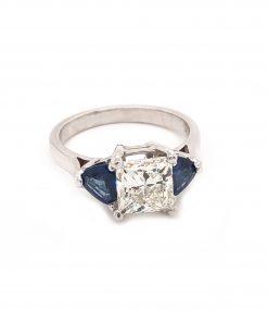 platinum diamonds and sapphire engagement ring