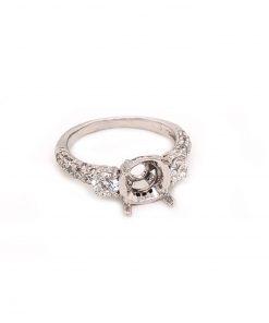 14k white gold diamond engagment ring mounting