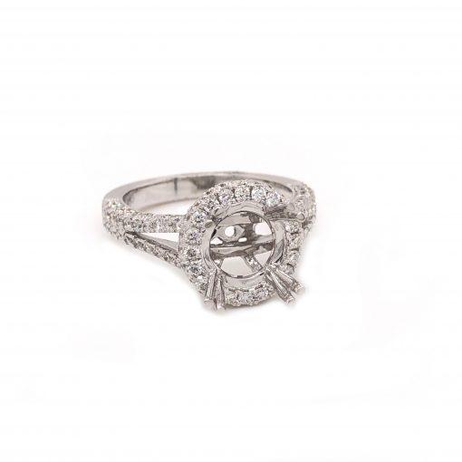 18k white gold engagement ring mounting